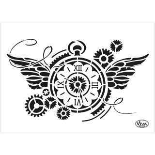 Schablone Steampunk Uhr A5 Viva
