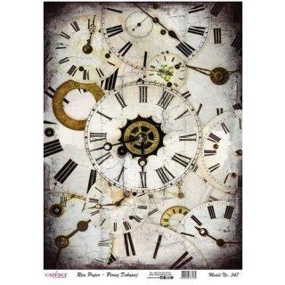 Reispapier Cadence Uhren Zifferblätter DIN A3