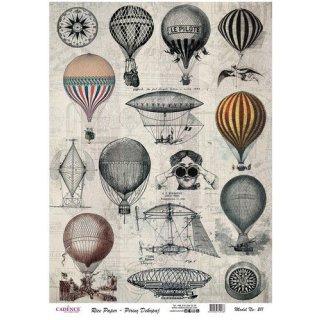 Reispapier Cadence Vintage-Luftballons DIN A3