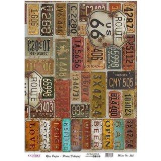 Reispapier Cadence Nummernschilder USA DIN A3