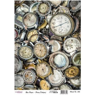 Reispapier Cadence alte Uhren DIN A3