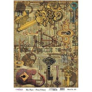Reispapier Cadence Vintage Schlüssel DIN A3