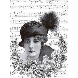 Reispapier Cadence Vintage Dame Vogel DIN A3